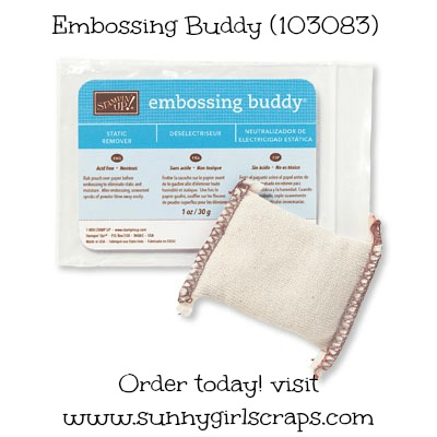 Order the Embossing Buddy today! Item #103083. Thank you for visiting www.sunnygirlscraps.com #sunnygirlscraps #embossingbuddy