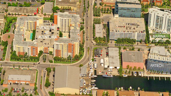 the venture east aerial view