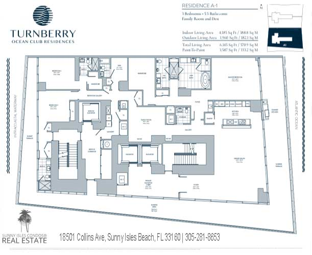A-1 residence turnberry ocean club floor plans
