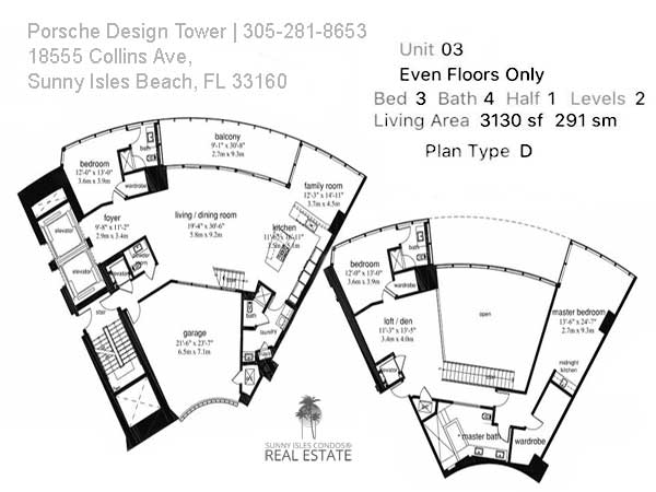porsche sunny isles floor plan D