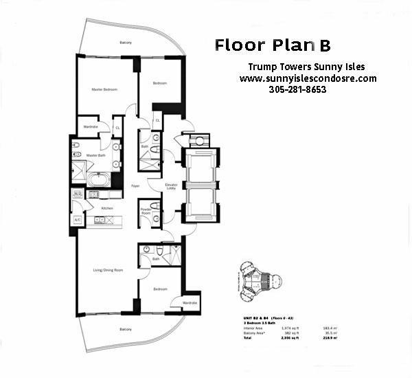 Trump Towers I Floor Plan B2 & B4