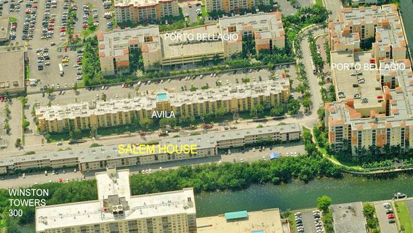 Salem House Condos aerial view