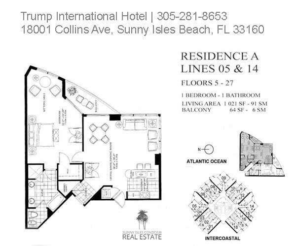 trump beach resort i bed floor plan