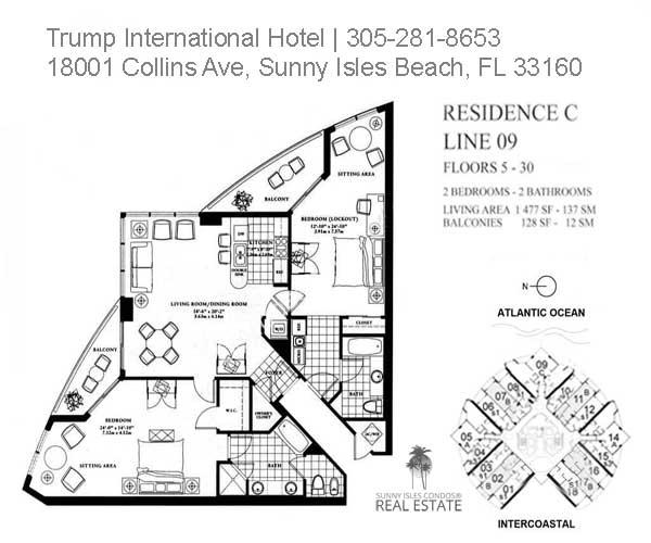trump beach 2 bed 2 bath floor plan