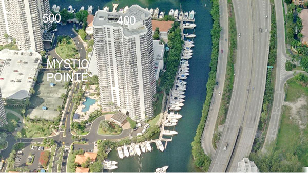 400 mystic pointe aerial view