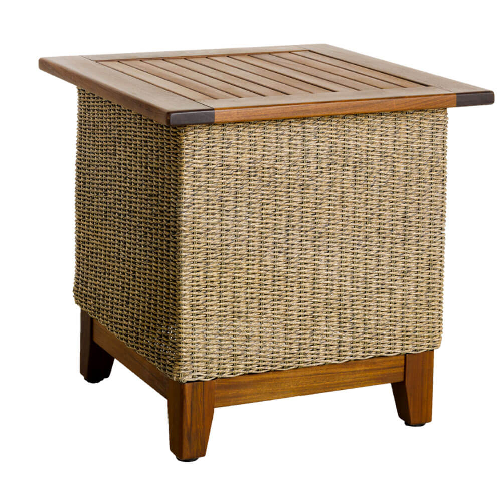 coral ipe woven side table