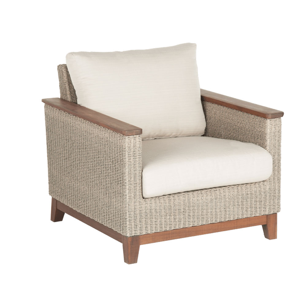 patio club chair modern brown leather office jensen leisure coral ipe woven outdoor furniture