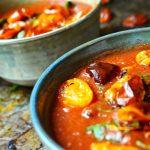 Thai Tomato Soup in a blue bowl