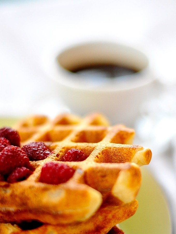 Vegan yeasted, overnight waffles
