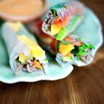 Rainbow Rolls with Cashew Dipping Sauce (Vegan)