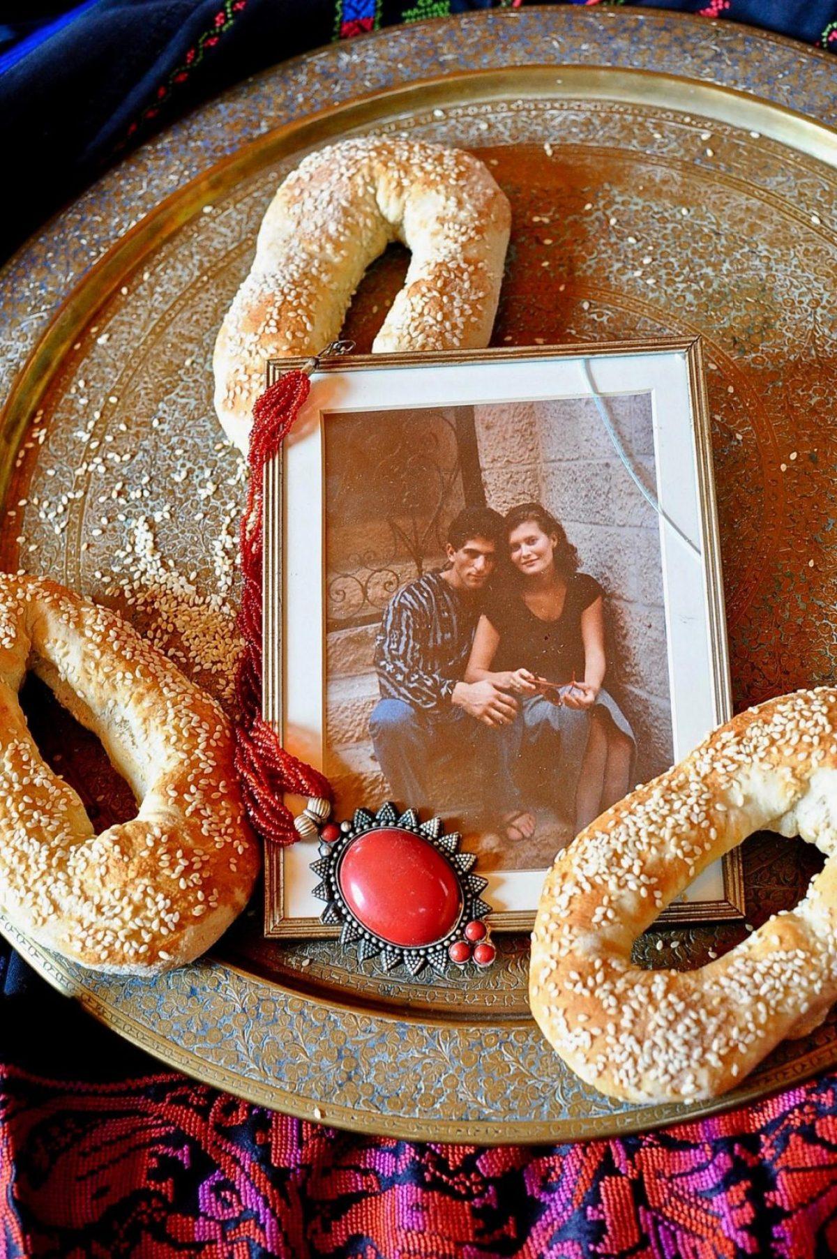 Old City Jerusalem Bread (Vegan), on brass tray.