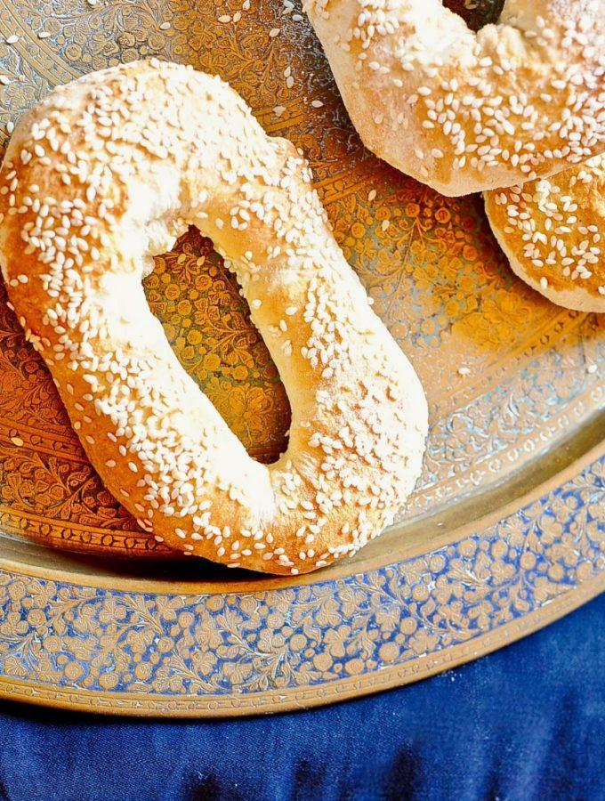 Old City Jerusalem Bread (Vegan), sesame seeds, brass tray