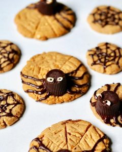 Peanut Butter Spider Cookies for Halloween (Vegan, Gluten Free)