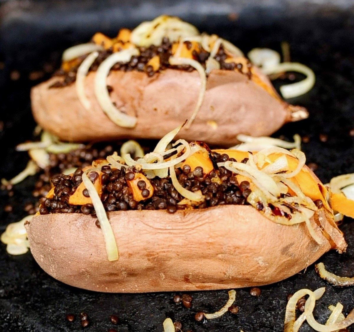 Black Lentil Stuffed Sweet potatoes, vegan, gluten free.