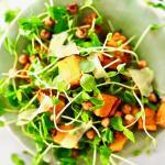 Pea Shoot and Sweet Potato Salad with Sesame Ginger Vinaigrette