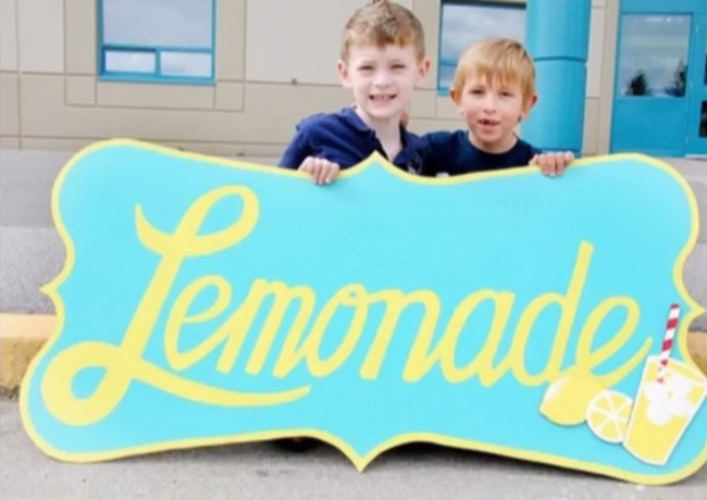 boy raises money lemonade