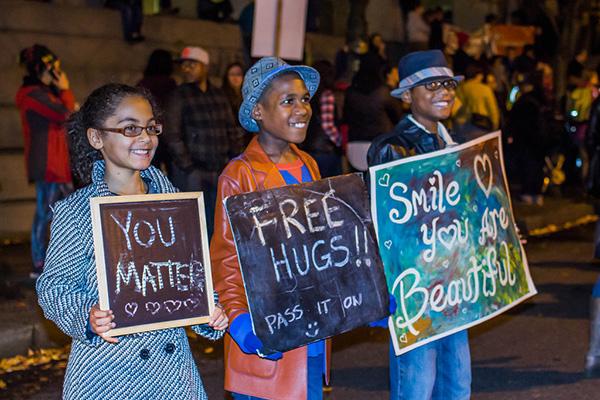 Ferguson protester hugs cop
