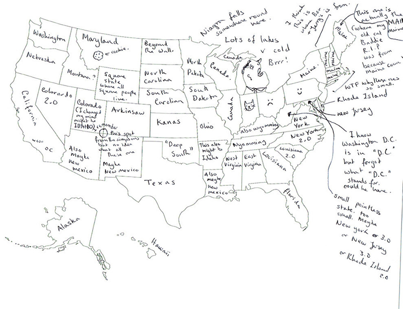 People In London Tried To Label The 50 US States On A Map
