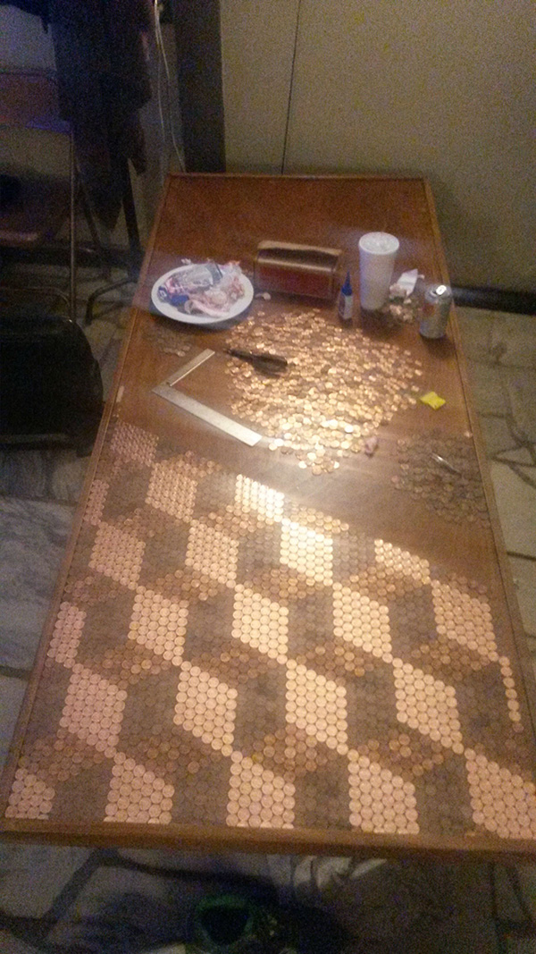 He Used Over 5000 Pennies To Make This Unique Tabletop