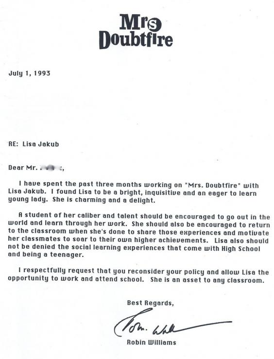 This Is The Letter Robin Williams Wrote To The School Of