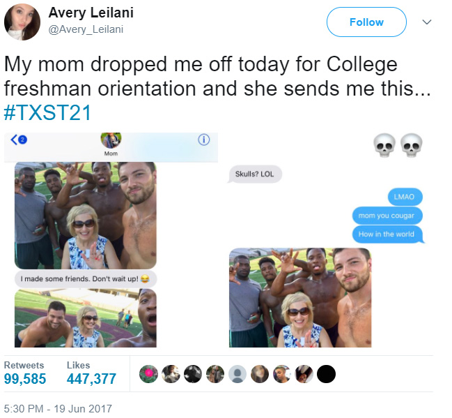 mom meets football team daughter college orientation