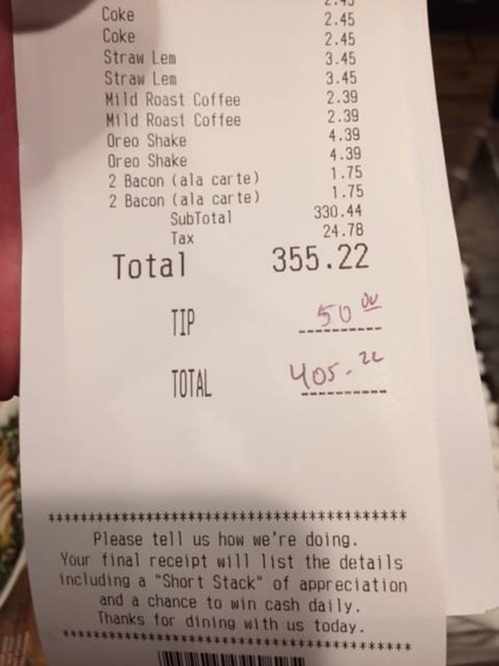 woman treats firefighters to dinner