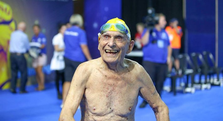 99 year old swimmer george corones breaks record
