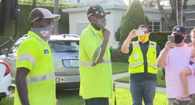 miami community celebrates garbage men