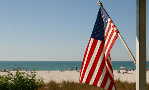 US flag on home in NC Outer Banks