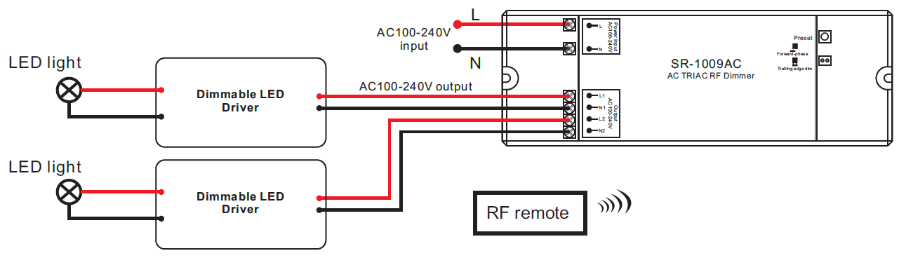 100 Load Center Wiring Diagram Schematic 2 Channel Ac Triac Led Dimmer Switch With Rf Control Sr 1009ac