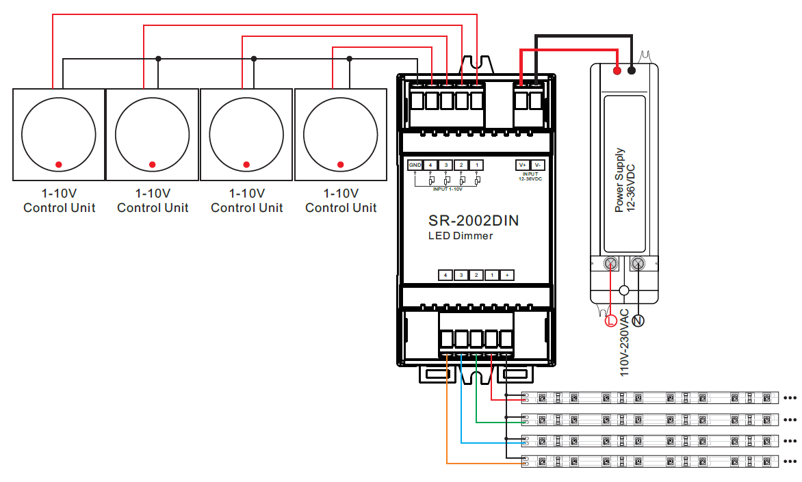 Ac Schematic Wiring Diagram Din Rail Mounted 4 Channel 0 1 10v Led Dimmer Switch Sr