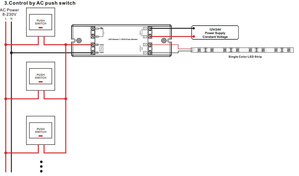 1 Channel Constant Voltage 0/1-10V Dimmer & Push Dimmer SR