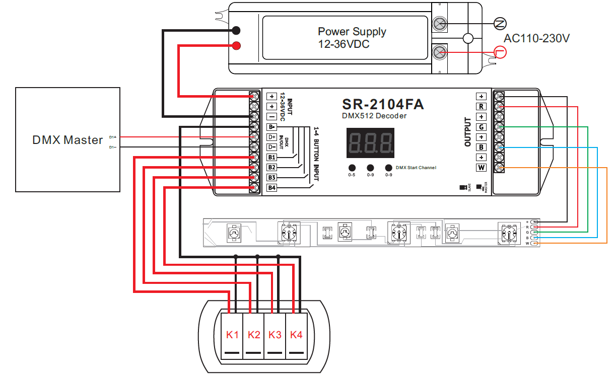 Dual Wall Switch Wiring Diagram Push Switch Compatible Constant Voltage Dmx512 Decoder Sr