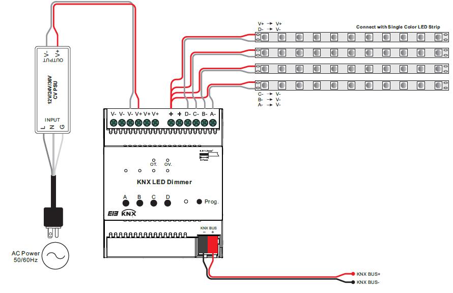 Ac Schematic Wiring Diagram Constant Voltage Knx Dimmer Sr Knx9501fa