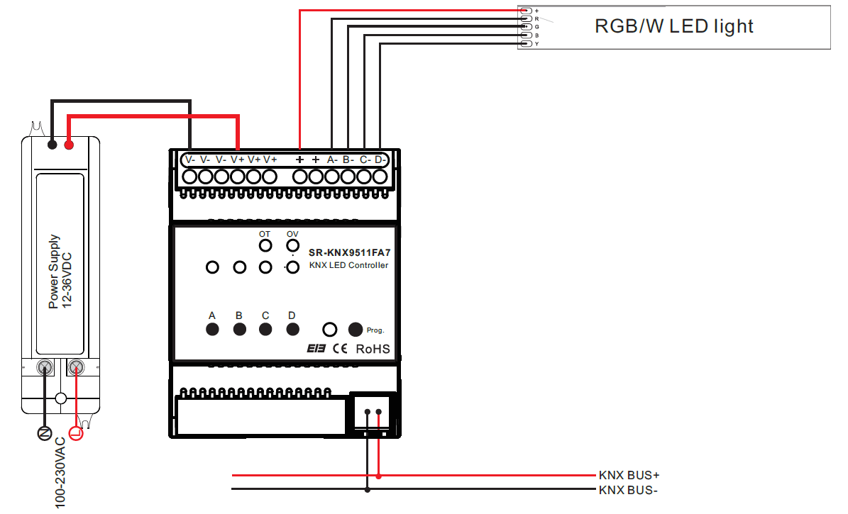 10v Dimming Wiring Diagram Constant Current Rgbw Knx Controller Sr Knx9511fa7