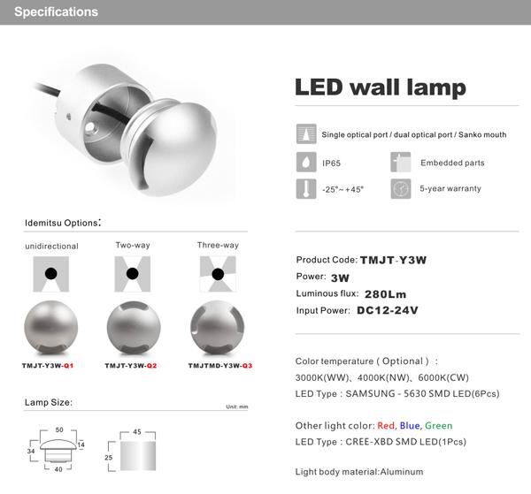 3w waterproof led recessed downlight