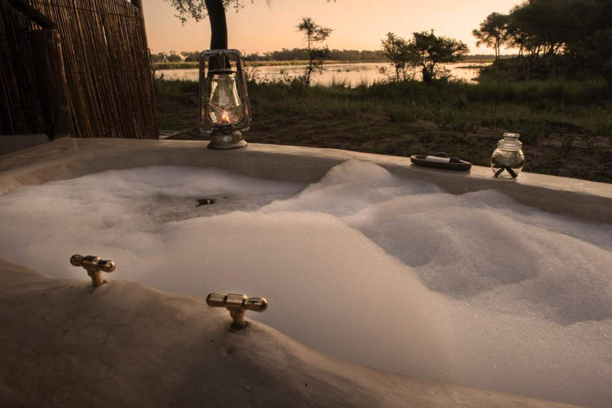 A bubble bath with a view at Old Mondoro Camp