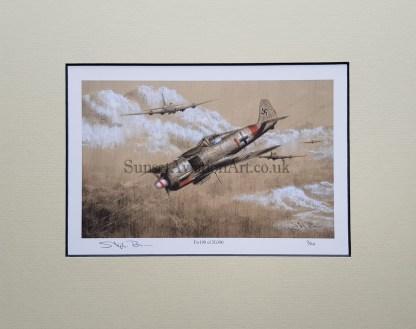 FW 190 of JG 300 Pencil print Drawing Stephen Brown