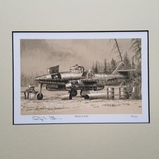Me 262 of JV44 Pencil Drawing (Stephen Brown Aviation Artist)