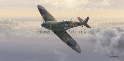 Aviation Birthday card RAF Supermarine Spitfire Evening Glory