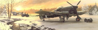 Xmas card Hawker Typhoon Winter on the front line