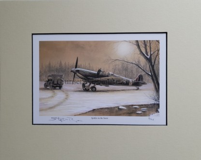 Spitfire in the snow pencil print Stephen Brown