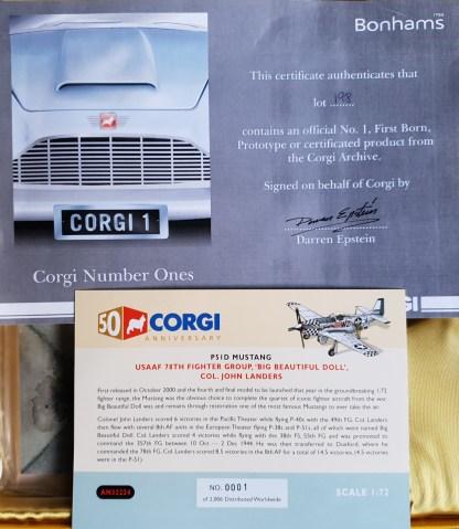P-51D Mustang Big Beatiful Doll Corgi AN32224 certificate
