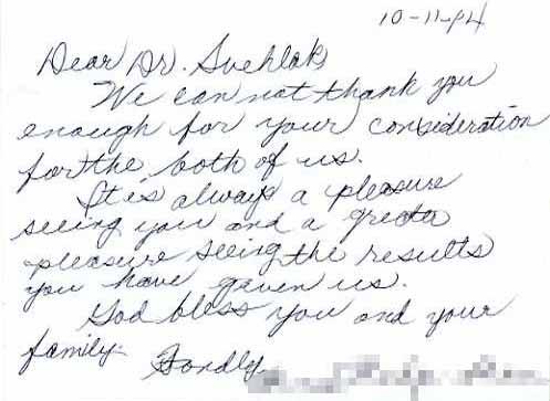 Steven Svehlak, MD, FACS – Letters from Patients
