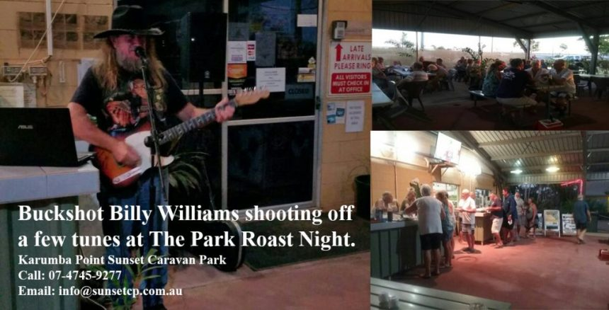Buckshot Billy Williams shooting off a few tunes at The Park Roast Night