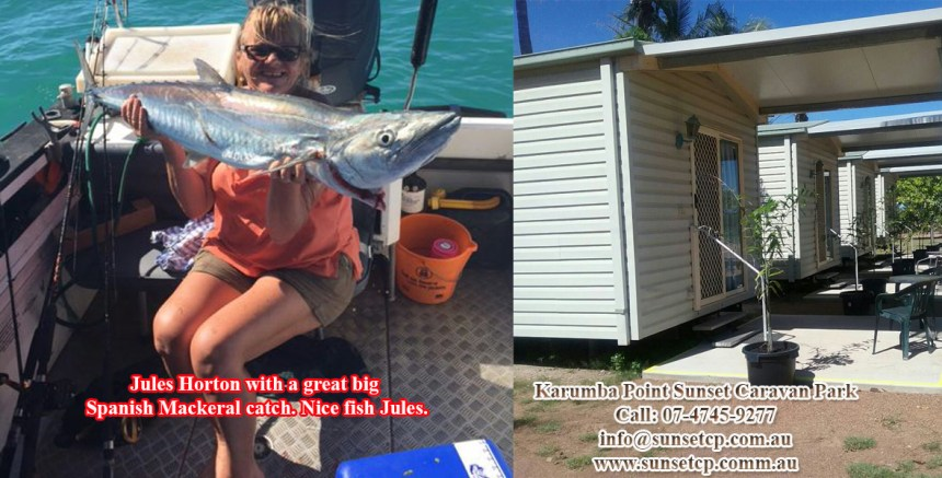 Jules Horton With A Great big Spanish Mackeral Catch Karumba Point Sunset Caravan Park