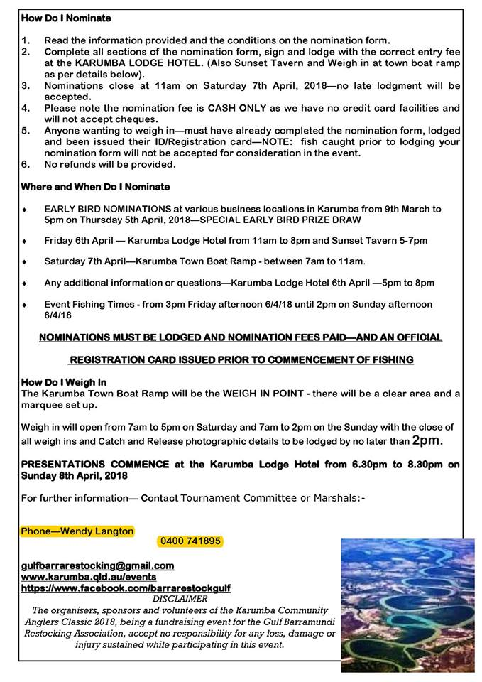 Karumba Community Anglers Classic April 6th, 7th, and 8th 2018