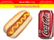 Meal Offer #4 Karumba Point Sunset Caravan Park Hot Dog and Can $7