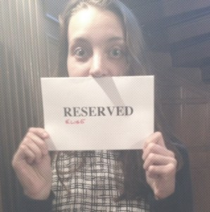 "Me with a totally professional looking ""reserved"" sign."