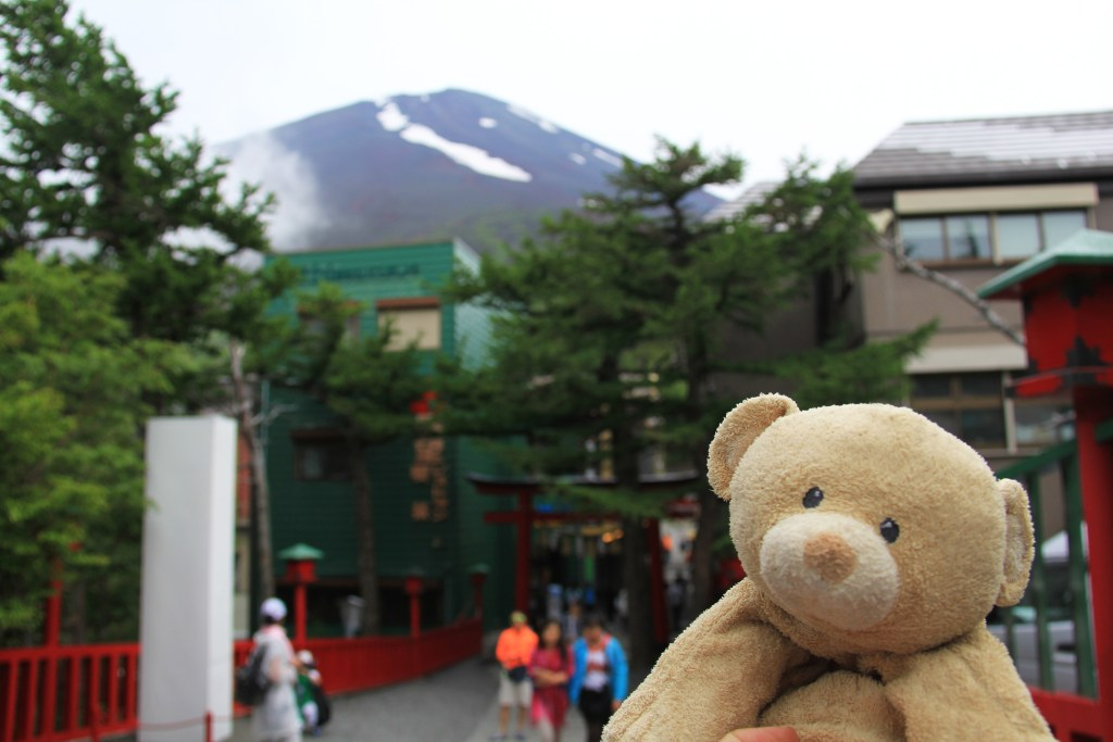 View of the peak of Mt.Fuji from the temple.